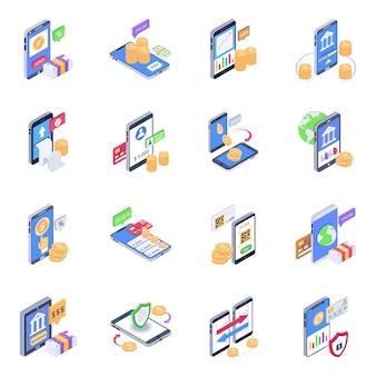 Pack van e banking isometrisch icons