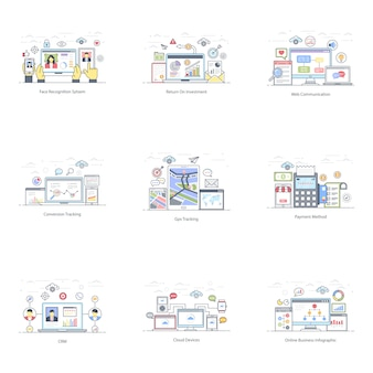 Pack van e business vlakke afbeelding