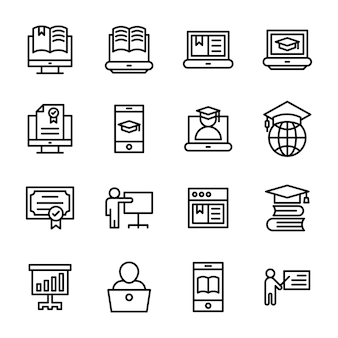 Pack van e-learning lijnpictogrammen