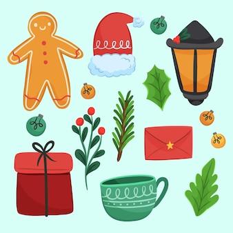 Pack van getekende kerstelementen