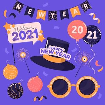Pack van getekende nieuwe jaarfeestelementen