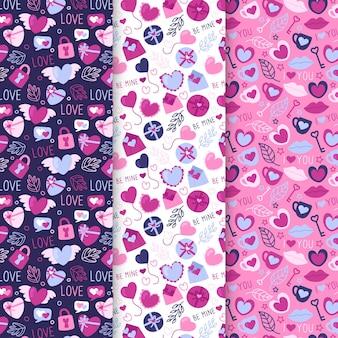 Pack van getekende valentijnsdag patronen