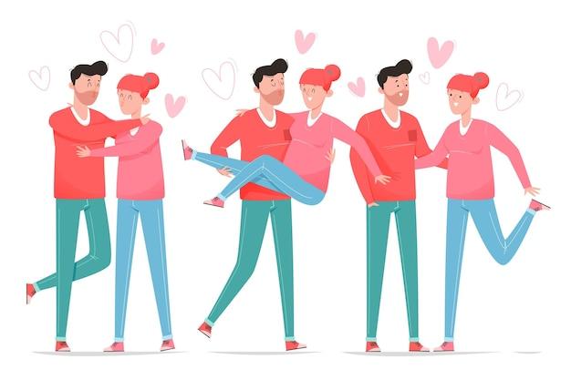 Pack van getekende valentijnsdagparen