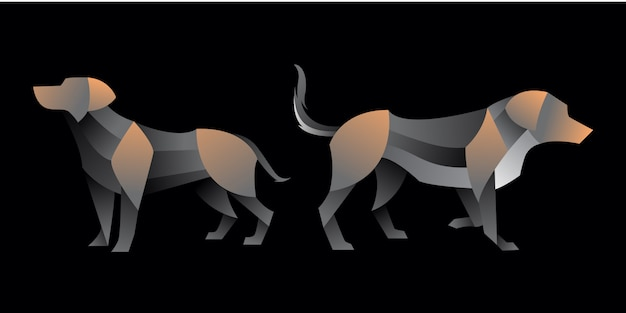 Pack van gradiënt labrador hond