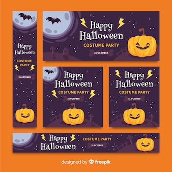 Pack van halloween banners plat ontwerp