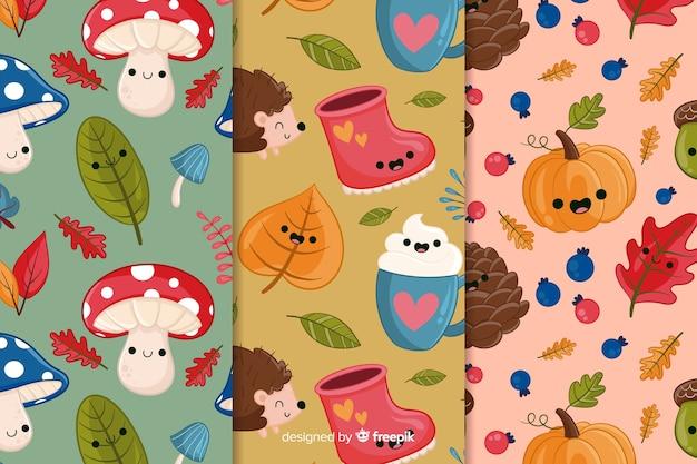 Pack van hand getrokken herfst patronen