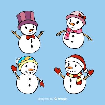 Pack van hand getrokken sneeuwpop karakter