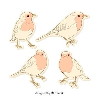 Pack van hand getrokken vogels