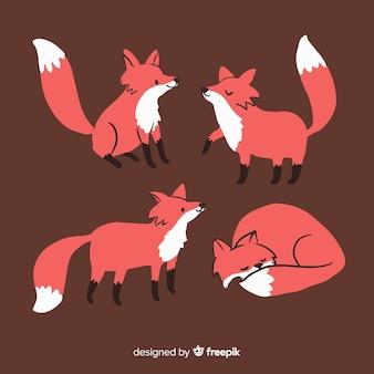 Pack van hand getrokken vossen