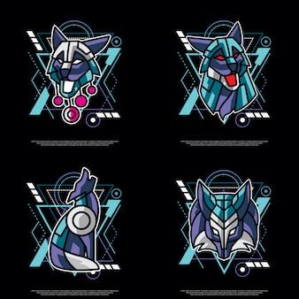 Pack van heilige geometrie wolf