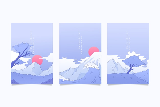 Pack van japanse covers minimalistisch design