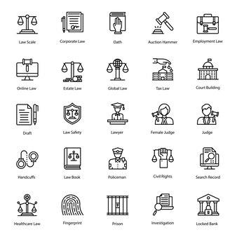 Pack van jurisprudentie lijn pictogrammen