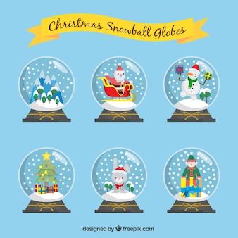 Pack van kerst snowglobes