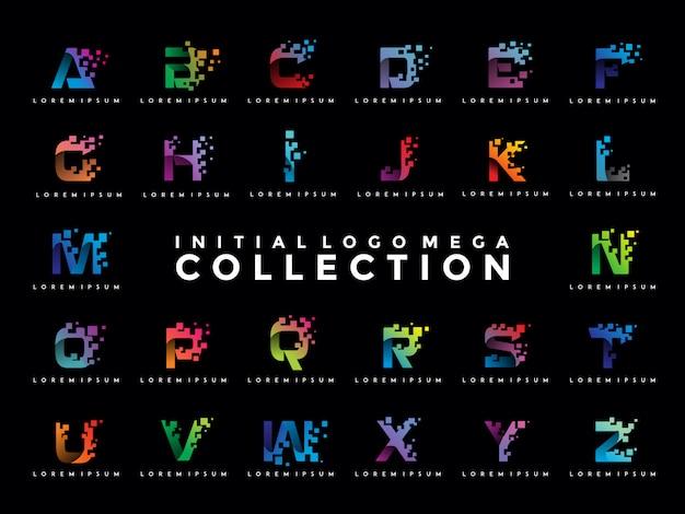 Pack van kleurrijke eerste pixel logo sjabloon