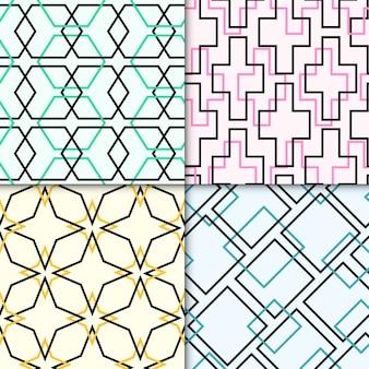 Pack van kleurrijke geometrische getekende patronen