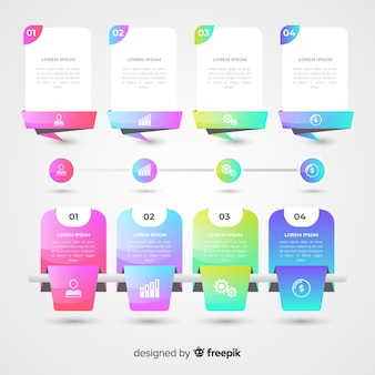 Pack van kleurrijke infographic platte ontwerp