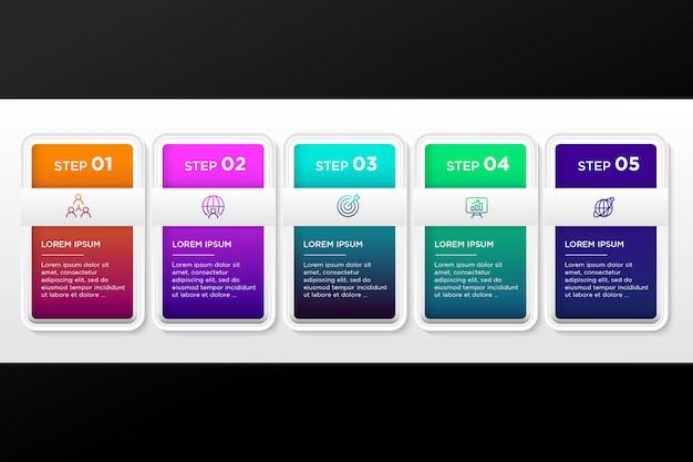 Pack van kleurrijke infographic stappen