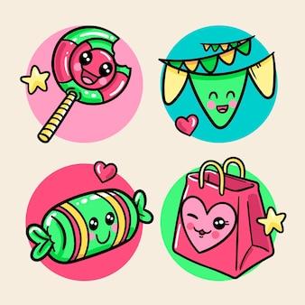 Pack van kleurrijke kawaii verjaardag