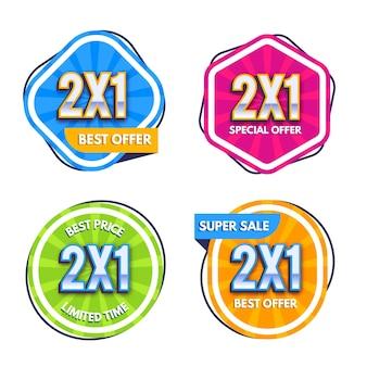 Pack van kleurrijke promotionele etiketten