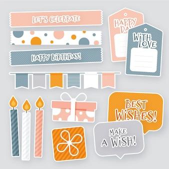 Pack van kleurrijke verjaardag plakboek