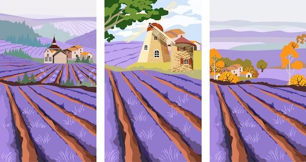 Pack van lavendel veld met molen, dorp en groene boom