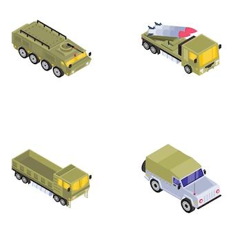 Pack van legervoertuigen in isometrische weergave