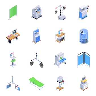 Pack van medische hulpmiddelen isometrische pictogrammen