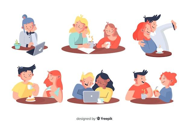 Pack van mensen die in een café zitten
