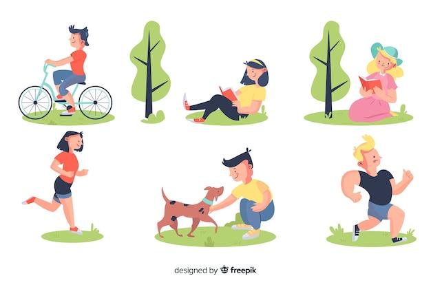 Pack van mensen in het park