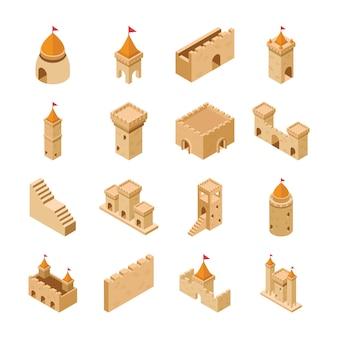 Pack van middeleeuwse kasteel elementen iconen