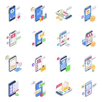 Pack van mobiele inhoud isometrische pictogrammen