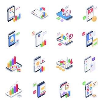 Pack van mobiele marketing isometrische pictogrammen