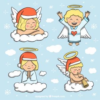 Pack van mooie handgetekende engelen