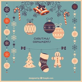 Pack van mooie retro kerst ornamenten in platte ontwerp