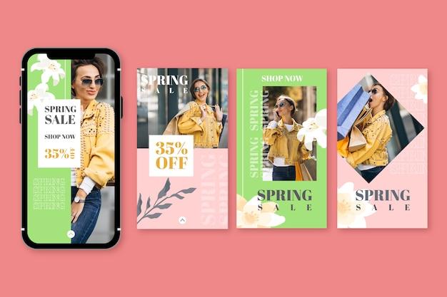 Pack van mooie voorjaarsverkoop instagram-verhalen