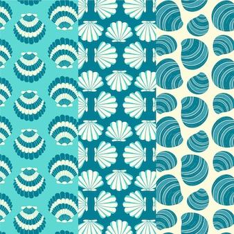 Pack van naadloze zeeschelp patroon