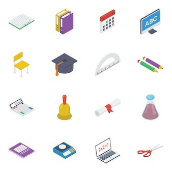 Pack van onderwijs isometrische pictogrammen afdrukken