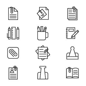 Pack van paperclip lijn pictogram