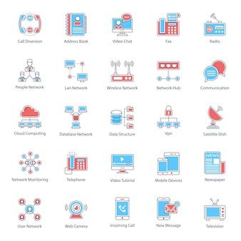Pack van plat pictogrammen voor netwerken