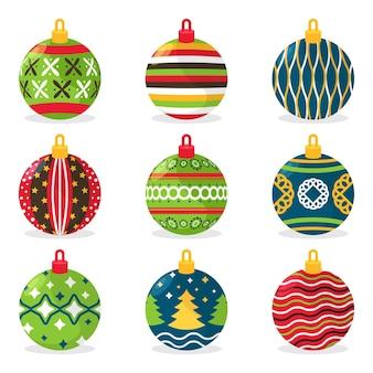 Pack van platte kerstbal ornamenten