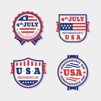 Pack van platte ontwerp 4 juli badge