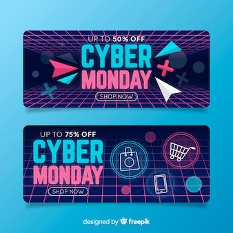 Pack van platte ontwerp cyber maandag banners
