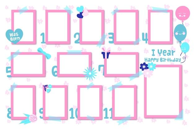 Pack van platte verjaardag collage frame