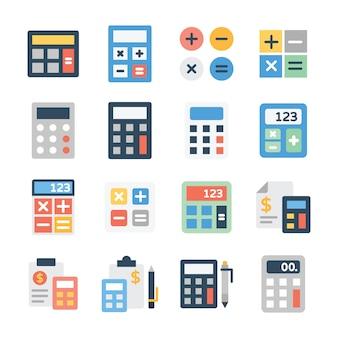 Pack van rekenmachine plat pictogrammen