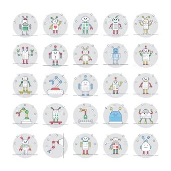 Pack van robotachtige pictogrammen
