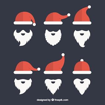 Pack van santa claus hoeden en baard in platte ontwerp