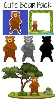 Pack van schattige beer