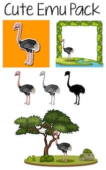 Pack van schattige emu