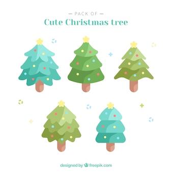 Pack van schattige kerstbomen