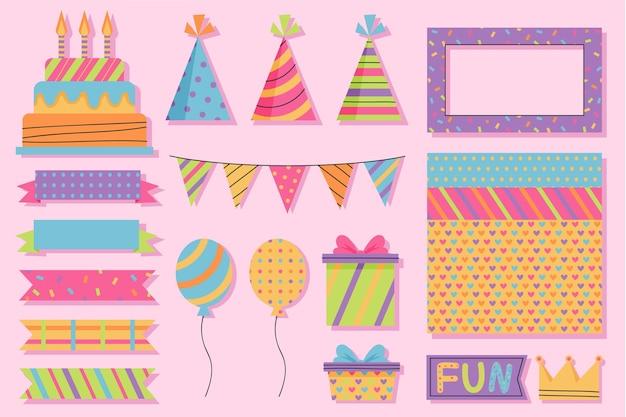 Pack van schattige verjaardag plakboekelementen